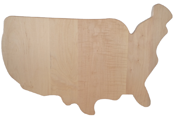 Novelty Wood Cutting Board US Map