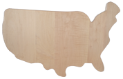 Map of the USA shaped cutting board